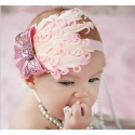 """κορδελα """"Baby pink &bow Feather"""""""