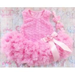 Βρεφικό φόρεμα Tutu Baby pink με κορδέλα