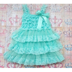 Βαπτιστικό φόρεμα για κορίτσι Aquamint Chiffon and Lace