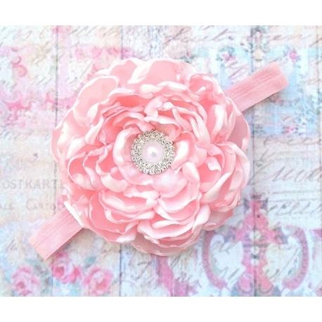 """κορδελα μαλλιων """"Light pink flower"""""""