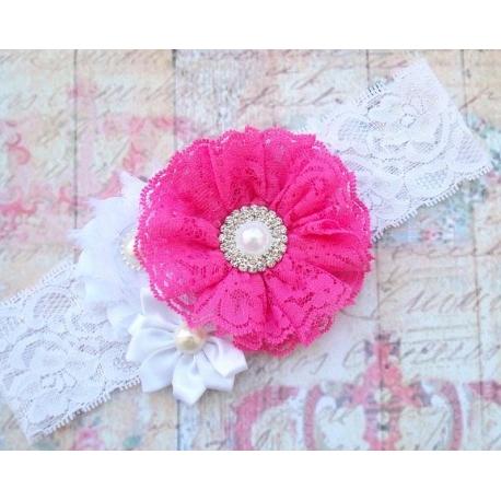 """κορδελα μαλλιων """"Light fuchsia bouquet"""""""