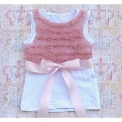 μπλουζάκι white with dust pink chiffon