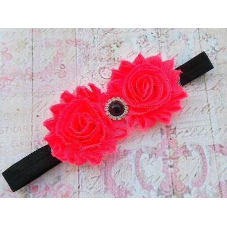 """Κορδελα """" neon roses & black"""""""