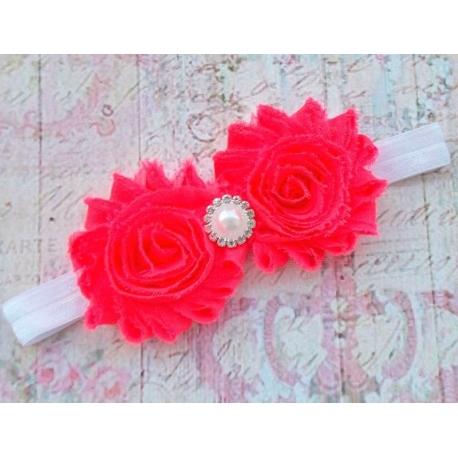 """Κορδελα """"neon roses & white"""""""