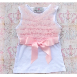 white with light pink chiffon ruffles