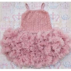Φόρεμα για κορίτσι Dusty pink rosette με κορδέλα