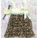 Φόρεμα για κορίτσι Cream & Leopard με κορδέλα