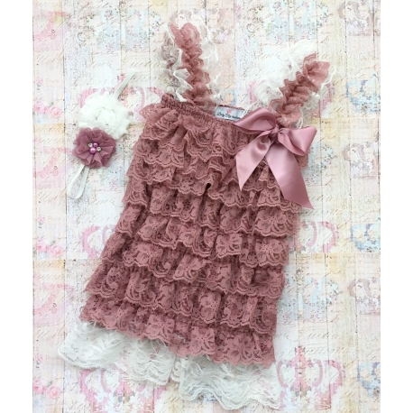 "Romper ''Ivory & Dusty pink"" με κορδελα"