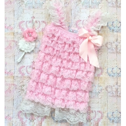 "Romper ''Ivory & Baby pink"" με κορδελα"