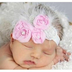 """κορδελα """" Pink roses with silver leaves"""" με φτερα"""