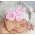 κορδέλα μαλλιών Pink roses with silver leaves με φτερά