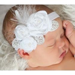 κορδέλα μαλλιών White roses with silver leaves με φτερά