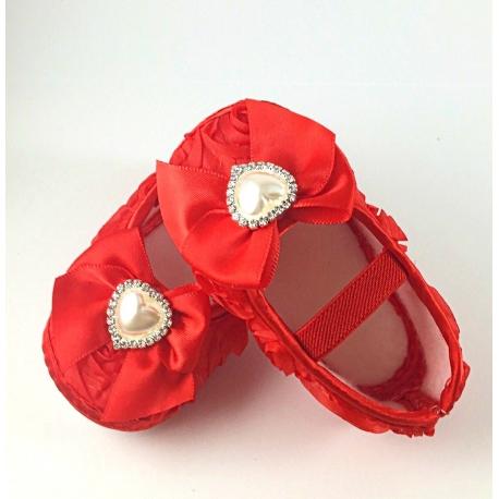 """Παπουτσακια """"Red rosette and pearl"""""""