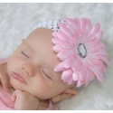 Κορδέλα μαλλιών Pink flower with white