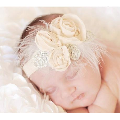 """κορδελα """" Cream roses with silver leaves"""" με φτερα"""