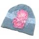 Σκουφακι '' Grey with Pink flowers''