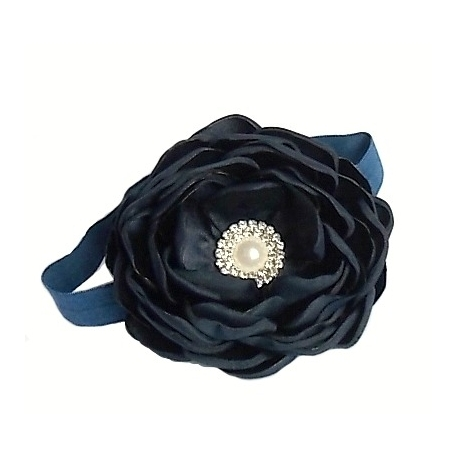 Navy blue rhinestone flower