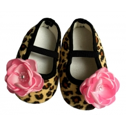 βρεφικά παπουτσάκια για κορίτσι Leopard with flower