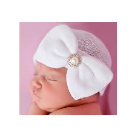 """σκουφακι """"Newborn'' White with rhinestone"""