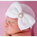 Σκουφάκι για νεογέννητο White with rhinestone