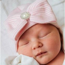 """σκουφακι """"Newborn'' Pink with rhinestone"""