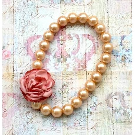 """Παιδικο κολιε """"Vintage pearls"""" dusty pink flower"""