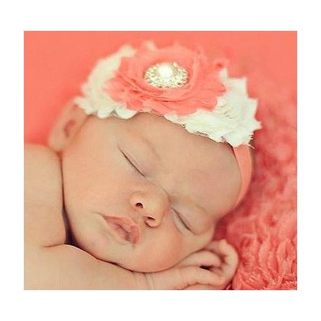 """κορδελα """"Coral pink & cream"""""""