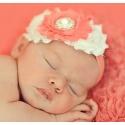 Κορδέλα μαλλιών Coral pink & cream