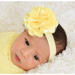Satin tulle flower ''Yellow''