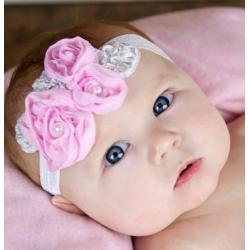 κορδέλα μαλλιών Pink roses with silver leaves