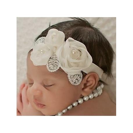 """κορδελα """" Cream roses with silver leaves"""""""