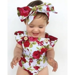 "Romper ''Burgundy flowers"" με κορδελα"