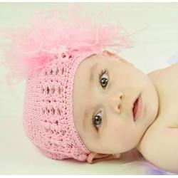 Πλεκτo σκουφακι Pink & pink marabou