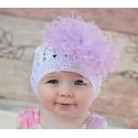 Πλεκτo σκουφακι White & lavender marabou
