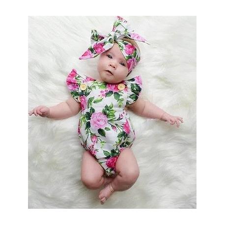 "Romper ''Fuchsia flowers"" με κορδελα"