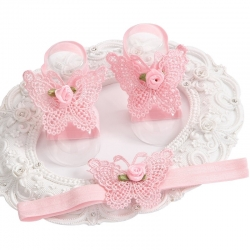 σανδάλια ''Pink butterfly '' με κορδελα