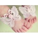 σανδάλια ''White butterfly pink rose '' με κορδελα