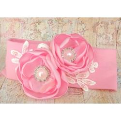 κορδελα μαλλιων '' Pink with pink flowers''