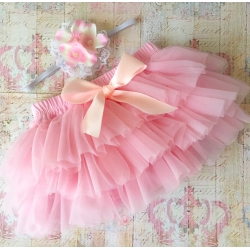 Κάλυμμα πάνας tutu Baby pink vintage με κορδέλα