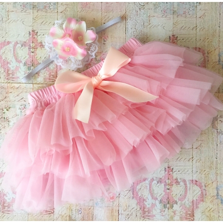 """Καλυμμα πανας tutu """"Baby pink vintage"""" με κορδελα"""