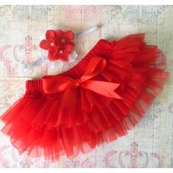 Κάλυμμα πάνας tutu Red vintage με κορδέλα