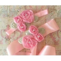ζωνη ''Pink roses with silver leaves''
