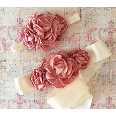 ζωνη ''Cream with Dust pink ''