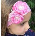 κορδέλα μαλλιών Pink with pink flowers
