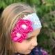 κορδελα μαλλιων '' Grey with fuchsia flowers''