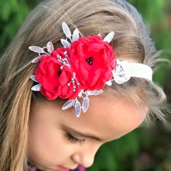 κορδελα μαλλιων Exclusive Coral Red Flowers
