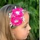 κορδελα μαλλιων Exclusive Fuchsia Flowers