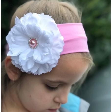 κορδελα μαλλιων pink with white Flower