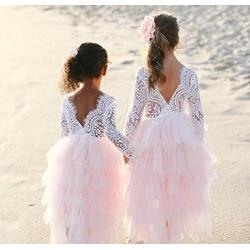 Βαπτιστικό φόρεμα για κορίτσι Lace and Tulle με κορδέλα