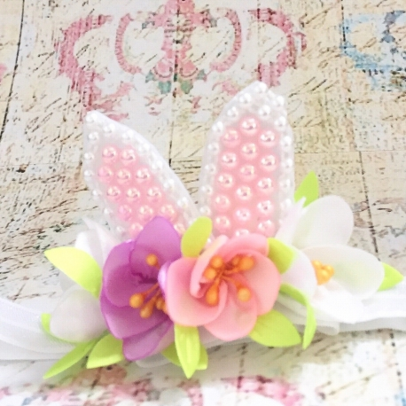 κορδελα μαλλιων με αυτάκια Spring flowers
